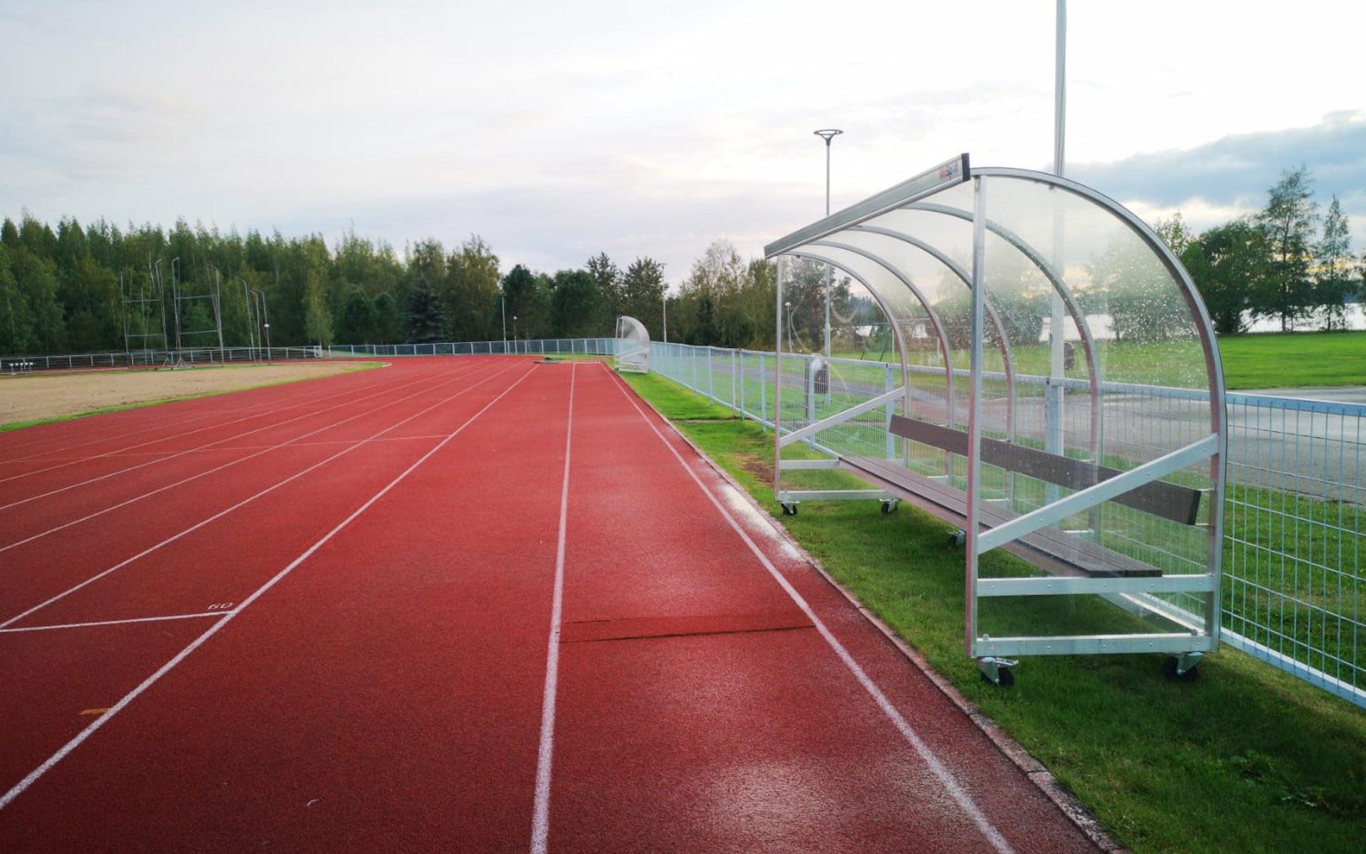 Yleisurheilukentän suoja urheilijoille / pelaajille / Alusport Vaihtoaitio