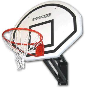 Seinään kiinnitettävä koripalloteline korkeudensäädöllä