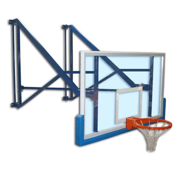 Sivulle taittuva seinään kiinnitettävä koripalloteline