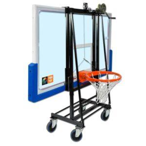 Koripallokorin taustalevyn säilytys, siirto ja asennuskärry Sport System
