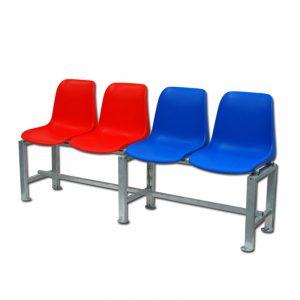 Tenniskentän penkki kuppi-istuimilla Sport System 4 hengelle