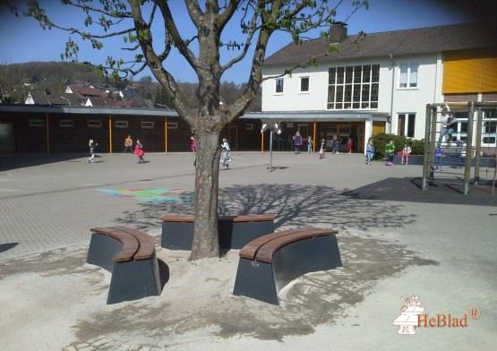 Koulun pihalle asennettu puistonpenkki